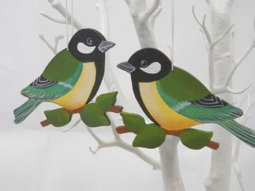 Hanging Great Tit Bird Decorations - Set of 2
